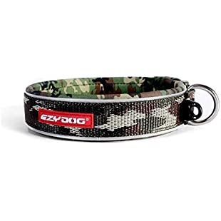 EzyDog Neo Classic Dog Collar Top Quality Durable Reflective Easy Clean Comfy Green Camo X-Large