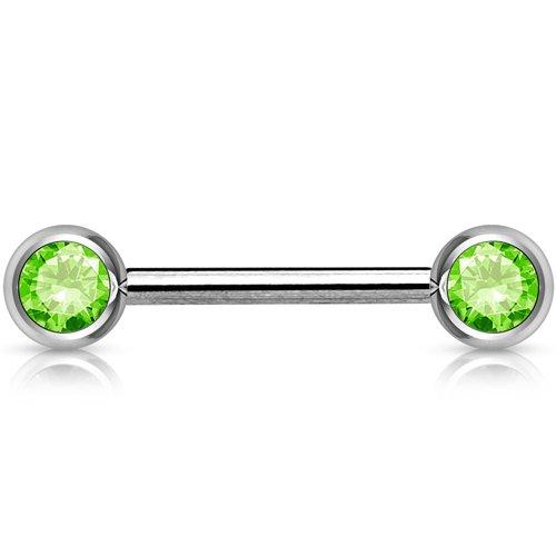 Intieme piercings dubbele steen groen