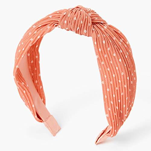 Polka Dot Pleated Knotted Headband - Peach