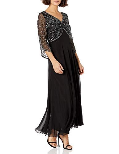 J Kara Women's Petite 3/4 Sleeve V-Neck Beaded Top Long Gown, Black/Gun/Mercury, 6P
