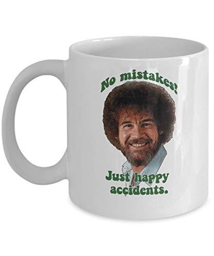 Smbada Keine Fehler! Just Happy Accidents Bob Ross Kaffeetasse Tasse (Weiß) 11 Unzen Bob Ross Die Freude am Malen Geschenk Merchandise Shirt Poster Aufkleber Decal Decor