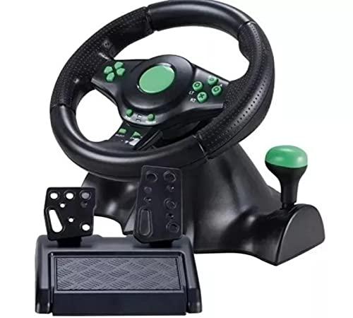 Volante De Vibração Gamer Com Pedais e Cambio Para Xbox360 PC PS2 PS3 Preto Giro 180º - KP-5815A