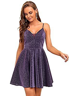 Ever-Pretty Shinny Wedding Guest Dress Club Dress Bridesmaid Dress Purple US6