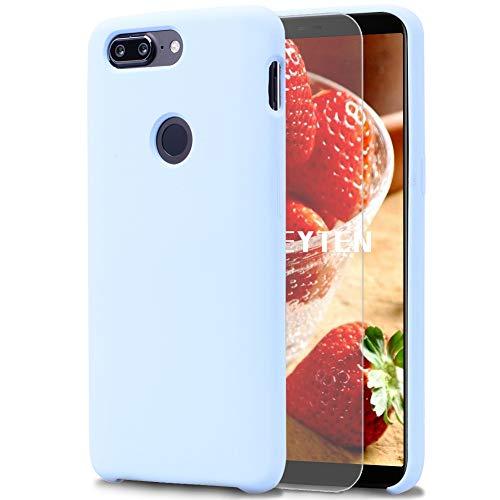 Feyten OnePlus 5T Hülle [mit Bildschirmschutz], Silikon Schutzschale Handyhülle Schutzhülle Bumper Hülle Schutz vor Stoßfest/Scratch Cover (Hellblau)