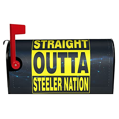Lei312gu Straight Outta Steeler Nation Magnetic Mailbox Cover Garden Yard Home Decor for Outdoor Standard Size 18' X 21' Mailbox Wraps Post Letter Box Cover Home Garden Decorations