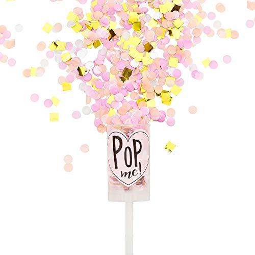 Pikka Pop Premium Konfetti Konfetti Shooter für Party Geburtstag Hochzeit. Konfetti Popper in Handtaschengröße für überraschende Momente, Pink - Gold, 1x Push Pop