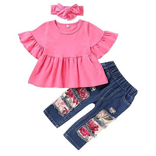 Conjunto de ropa floral para bebés recién nacidos, para verano, cumpleaños, torta de girasol, flores, con volantes, vestido de sol+pantalones vaqueros rasgados+diadema Bowkont casual