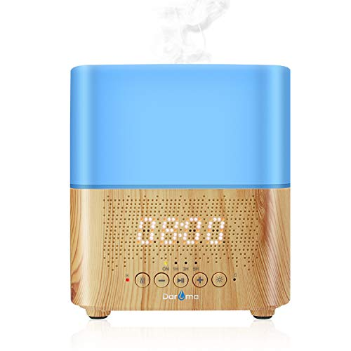Alarm Clock Essential Oil Diffuser, Aromatherapy Diffuser With Bluetooth Speaker, Daroma 300ml Scent Mist Fragrance Ultrasonic Room Humidifier,7Color Mood Lights Home Office Gift Night Lamp,Light Wood