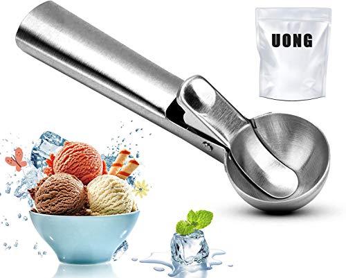 Uong Eisportionierer Edelstahl, Lebensmittelqualität 430 Edelstahl Eislöffel mit Auslöser, Portionierer für Eiskugel, Melone, Fleischbällchen, Kuchen Teig, Plätzchen, FDA-Zulassung (Dia 4,9 cm)