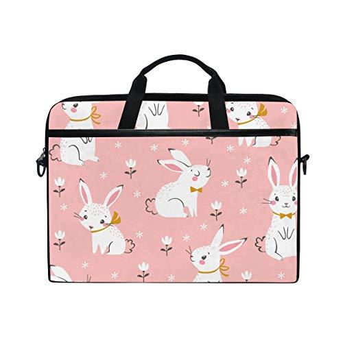 VALLER Laptop Bag, Cute White Bunnies Shoulder Messenger Bag 15 Inch Laptop Case Computer Carrying Case Business Briefcase For Women Men