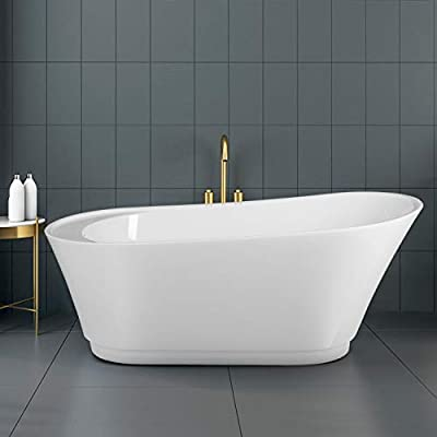 """FerdY 59"""" Freestanding Bathtub Luxury Freestanding Soaking Bathtub, with Sloped Lumbar Support, Glossy White, cUPC Certified, Toe-Tap Drain & Overflow Assembly Included"""