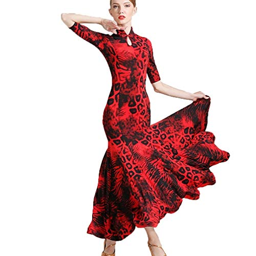 JTSYUXN Adult Girl Standaard Ballroom Dans Competitie Cheongsam Collar Jurken, Moderne Tango Grote Swing Mode Print Dans Kostuum Prestatie Rok