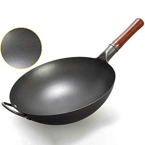 LHJCN Sartén para Wok de Acero al Carbono, Wok Tradicional Martillado a Mano con Mango Auxiliar de Madera y Acero (13,4 Pulgadas / 34 cm, Fondo Redondo)