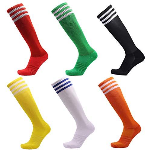 VWU Unisex Jungen Frauen Herren Mädchen Athletisch Fußball Sport Kniehohe Streifen Tube Socken Baumwolle 5er Pack (35-38)