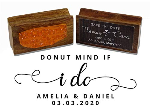 Printtoo Custom Wood Mount Wedding Favor Rubber Stamp Donut Mind If I Do Personalized Stamper-2.2 x 0.86 Inches