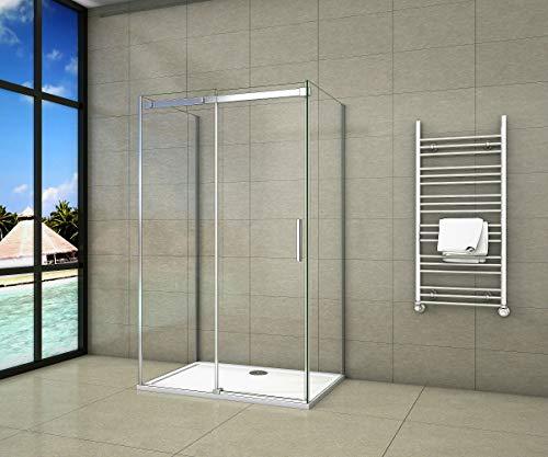 Aica Sanitär U-duschkabine 100 x 80 x 195 cm U-Kabine Dusche 6mm Sicherheitsglas ohne Duschtasse
