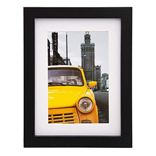 Egofine 8x6 Photo Frames Black - Made of Solid Wood Plexiglass Front for Table Top and Wall Mounting with 4x6 Mat