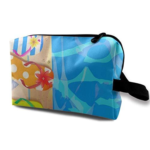 XCNGG Bolsa de cosméticos para jóvenes Exquisitas bolsas de maquillaje de viaje Bolsas de aseo multifunción Tablero de madera con estrella de mar y chanclas