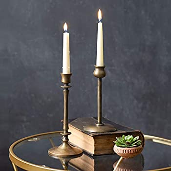 Set of 2 Brass Taper Candle Holders Candlestick Holders Centerpiece Table Decorative Vintage Modern Candlelight Dinner Metal Candlestick Holders for Reception Candlelight Dinner Ornaments