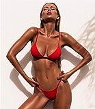 Bikini de triángulo atractivo del bikiní de la nueva de las mujeres de baño sólido juego del desgaste del traje de baño de la playa del verano Mujer bajo la cintura Rojo Traje de baño Biquini