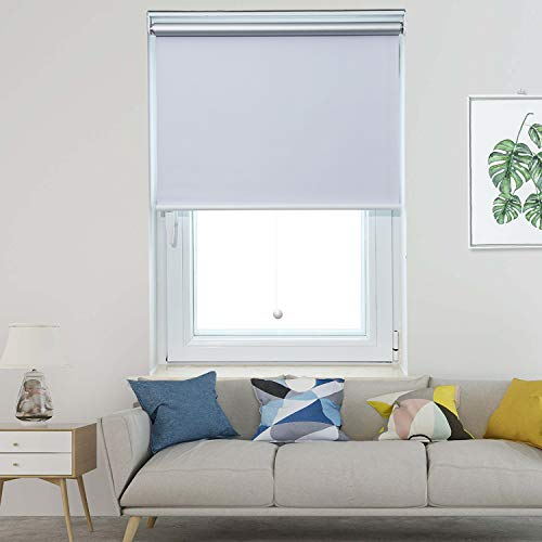Allesin Blackout Roller Shades Window Shades and Cordless Blinds for Home & Office, White, 48 x 72 Inch