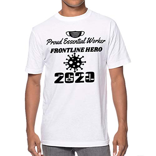 GIL Essential Worker 2020, Frontline Worker Hero, Unisex T-Shirt (White, Large)