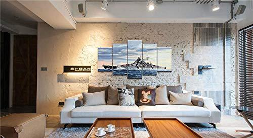 DKMDT Modernes dekoratives Gemälde Fünf aufeinanderfolgende Inkjet-einfache Creativebattleship-Bismarck-Kriegswaffe