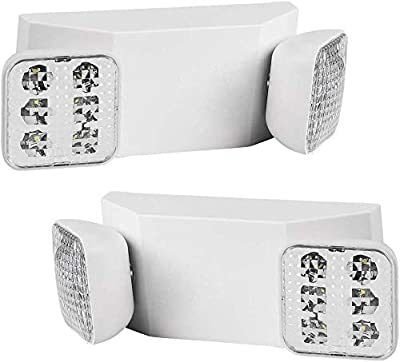 LEDMyplace Two Square Head LED Emergency Light, 2.5W, UL-94V-0 Flame Rating, Fire-retardant, Test Button and Charge Indicator Light, Overcharge and Over-discharge Protection, Input Voltage: 120-277VAC