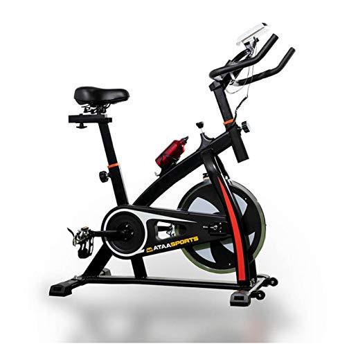 ATAA Power 50 Bicicleta de Spinning - Negro - Biciclera estática para realizar ejercicios de fitness en casa con pulsómetro, sillón ergonómica pantalla LCD y resistencia variable