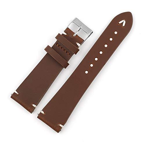 Beapet Retro-Riemen 18mm 20mm 22mm schwarzer Kaffee-braunes Handstichband-Ersatz Herrenarmband (Color : Brown, Size : 20mm)