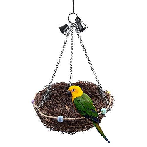 Vogelnest Natural Rattan Birds Nest Vogel Bett-Schaukel Spielzeug mit 2 Metallglocken Vogelspielzeug für Papageien Wellensittiche Nymphensittiche Sittiche Finken Kakadus Aras Graupapageien(27 x 12cm)