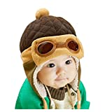 XYX Crochet Earflap Pilot Hats Rabbit Ears Beanie Cap Winter Warm Knit Caps for Toddlers Baby Girls and Boys (Coffee) 6 months-3 years