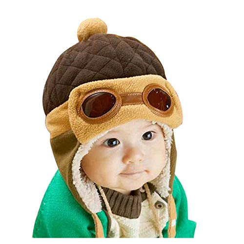 Crochet Earflap Pilot Hats Rabbit Ears Beanie Cap Winter Warm Knit Caps for Toddlers Baby Girls and Boys (Coffee)