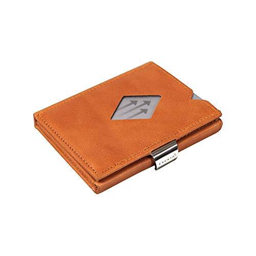 EXENTRI Cartera Billetera para Mujer u Hombre de Cuero Naranja Bordado con Nylon. hasta 12 Tarjetas, con Innovador Acceso rápido a 2 Tarjetas con un Sencillo Movimiento de Pulgar y Bloqueo RFID