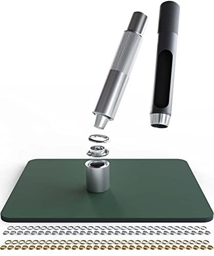Canzler Ösen Set 12mm - inkl. galvanisierten Gold & Silber Kupferösen - Stanzunterlage & Werkzeugen - zum sofort loslegen - ösen für planen