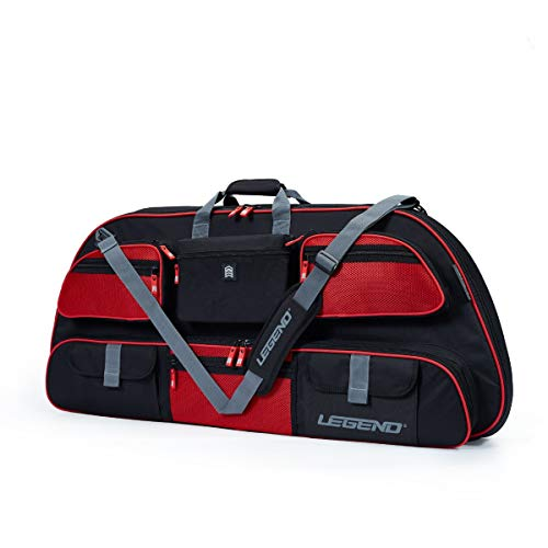 """Legend - Apollo 40 Compound Bow Case (40"""" Inside Length)   Unrivaled Bow and Archery Equipment Protection in a Lightweight Portable Carrying Case   Pockets for All Your Accessories   (Black/Red)"""