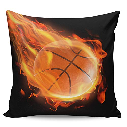 Winter Rangers Decorative Throw Pillow Covers- Basketball Flame Ultra Soft Pillowcase Comfy Square Cushion Cover Case for Sofa Bedroom, 16' x 16'