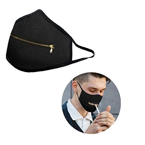 1PC Waschbare mundschutz Reißverschluss Wiederverwendbare Mundschutz verstellbar für Erwachsene,Atmungsaktive Anti-Staub-gesichtsschutz Baumwolle Leicht zu Trinken (A)