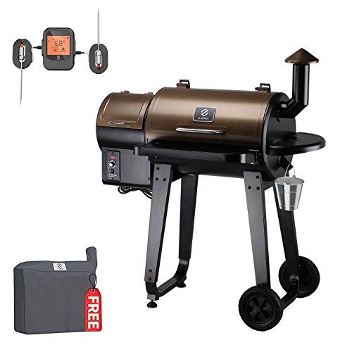 Z GRILLS Wood Pellet Grill and Smoker(ZPG-450APro) 2020 New Model 8 in 1 BBQ Grill with Meat Thermometer and Cover