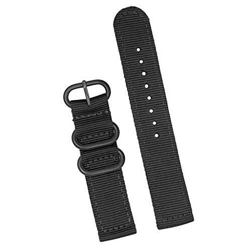 Harilla Banda De Correa De Reloj De Nylon Tejido Negro Reemplazar con Hebilla De Acero 18/20/22/24 Mm - 24mm