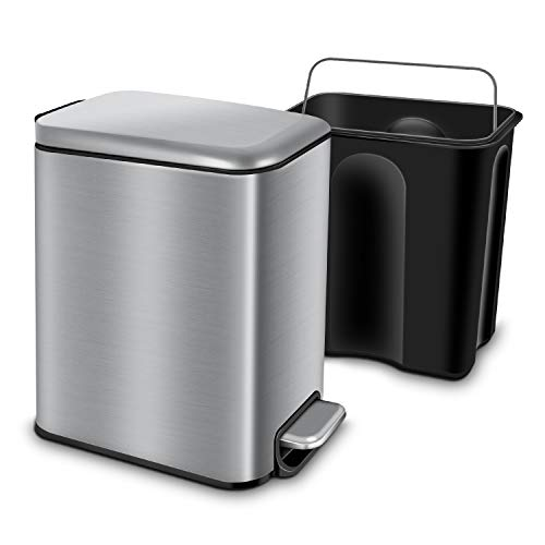 YCTEC Rectangular Small Trash Can with Lid Soft Close and Removable Inner Wastebasket, Anti-Fingerprint Brushed Stainless Steel Trash Can for Bathroom, Bedroom, Office, Kids Room, 5L/1.3Gal, Silver