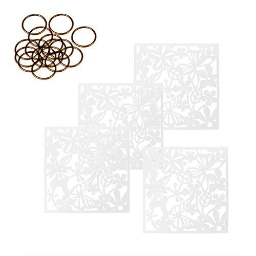 MAFAGE Trennwände zum Aufhängen DIY, Raumteiler für Hotel, Zuhause, Bar, Zimmer, 40 x 40 cm Schwarz (Weiß, 4 Stück)