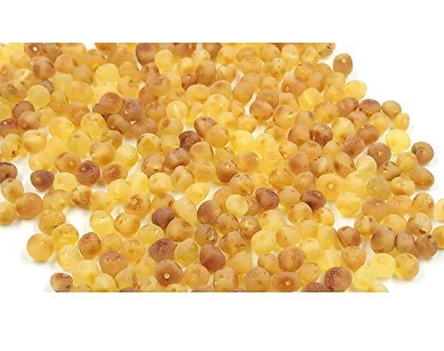 Amber Jewelry Shop Natürliche baltische bernsteinfarbene lose Perlen mit gebohrtem Loch - 10 Gramm - Zertifizierte natürliche Bernsteinperlen für die Schmuckherstellung (Matte)
