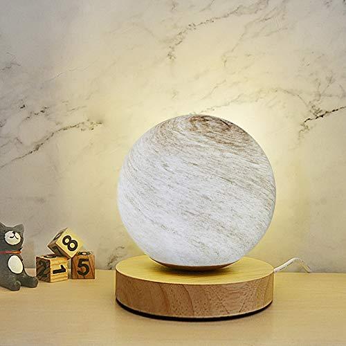 Mucher - Lampada da comodino in vetro con base in bambù, con luce notturna alimentata tramite USB, ideale per la decorazione ovunque (bianco caldo)