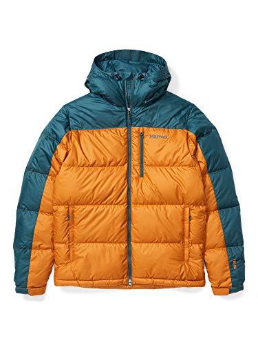 Marmot Guides Down Hoody Chaqueta de plumas aislante ligera, 700 pulgadas cúbicas, chaqueta para exteriores, anorak resistente al agua, resistente al viento, Hombre, Bronze/ Stargazer, L