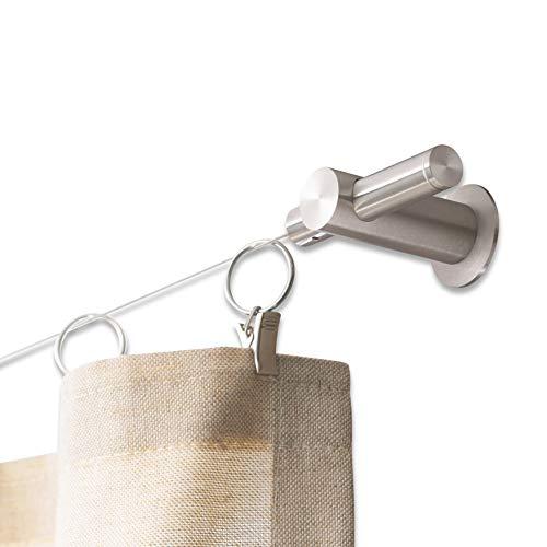 PHOS Design, SSL18-50Set10, Seilspanngarnitur bis 10 Meter, 2 Eck-Halter für Decke oder Wand. Edelstahl silber matt, Vorhang-Spannseil, Gardinendraht, Vorhangseil, Gardinenseil, Vorhangdraht rostfrei