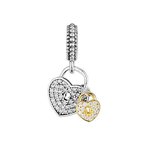 LIJIAN DIY 925 Sterling Jewelry Charm Beads Love Locks Make Original Pandora Collares Pulseras Y Tobilleras Regalos para Mujeres