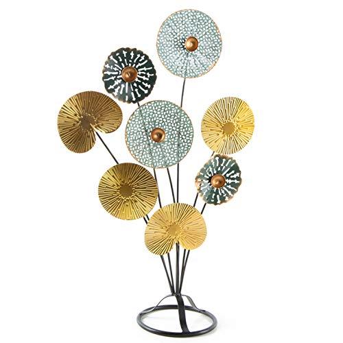 Logbuch-Verlag Dekoobjekt zum Hinstellen 53 cm Blätter Gold türkis Retro Geschenkidee Deko Wohnzimmer Schlafzimmer Metall Blume Baum