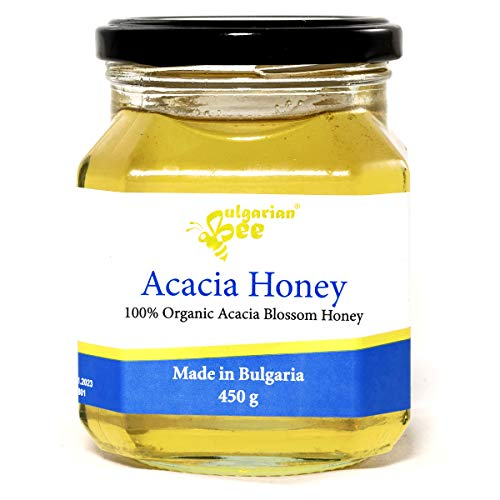 450 g Bio Miel de Fleur d'Acacia, Cru, non Chauffé, sans Sucre, non Pasteurisée, sans Additifs