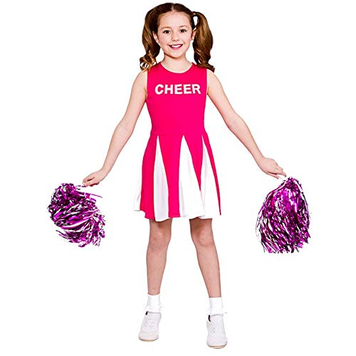 Girls Cheerleader - Hot Pink (8-10 anni) Costume da vestito operativo - 134cm - 146cm